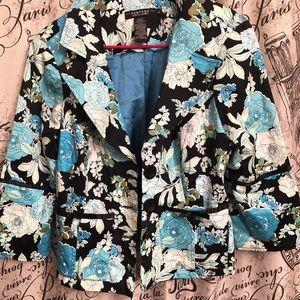 Rampage Blue floral Blazer Sz L